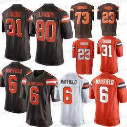 Marrones camiseta 73 online-Cleveland Brown 6 Baker Mayfield Jerseys 31 Nick Chubb 23 Joe Haden 73 Joe Thomas 5 Tyrod Taylor 80 Jarvis Landry jersey