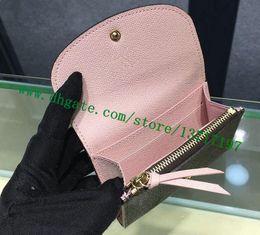 Abrigos de cuero rosa online-Monedero marrón de alta calidad recubierto de lona color liso ROSALIE COIN PURSE M62361 Rosa Rosa Monedero mujer
