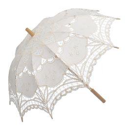 """Ombrello di cotone online-Nuovo 26 """"Ombrello lungo in pizzo ricamato con pizzo Romantico accessorio per matrimonio Ombrellone bianco avorio nero"""