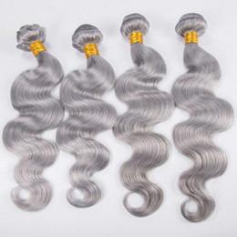 armadura de cabello humano para mujeres negras Rebajas Body Wave Bundles Virgin Silver Grey Armadura del cabello El cabello gris teje 100% humano Trama del cabello virgen para mujeres negras
