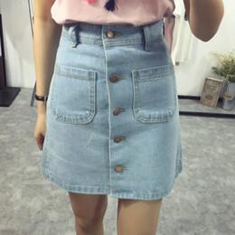 Wholesale front pencil skirt - Summer A-line Pencil Jeans Skirts Women High Waist Denim with Pockets Skirts Front Button Women Clothes