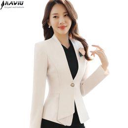 casaco de trabalho bege Desconto 2017 outono inverno mulheres manga longa blazer plus size moda escritório formal feminino jaqueta desgaste do trabalho fino outerwear Bege Preto