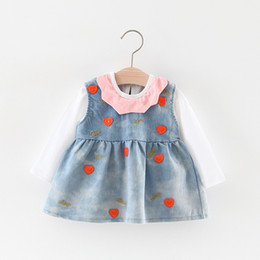 Wholesale Hearts Blouses - Everweekend Kids Girls 2pcs Outfits Sweet Heart Suspender Denim Baby Girls Dress and White Color Top Blouse Tee 2pcs Sets