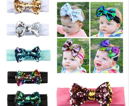 Wholesale Wholesale Sequin Headbands - New Fashion Beautiful Baby Sequin HeadBand Colorful Flexible Bow Hair Accessories Kids Lovely Gifts Free Shipping