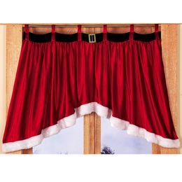Wholesale valance windows - 2017 Red Christmas Decor Window Curtain Pennant Santa Claus Dress Valance Decor Wholesale