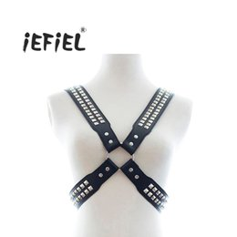 mens harnesses Coupons - iEFiEL Fashion Gay Mens Black Leather Multi Glitter Metal Pyramid Stud Adjustable Costume Body Chest Harness Outfit Clothing