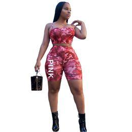 Wholesale wrap crop top - 2pcs set Love Pink Camouflage Shorts Outfit Set Women Sleeveless Chest Wrap Shirt Crop Top+Camo Shorts CCA9671 10set