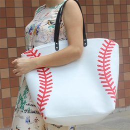 Wholesale canvas art bag - Football Soccer Ball Bags Creative Cute Canvas Softball Tote Bags With Hasps Closure Sports Package Baseball Handbag New Arrival 17ht Z
