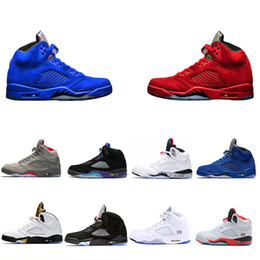 Wholesale Clear Fire - New Basketball Shoes 5 5s V Olympic metallic Gold White Cement Man OG Black Metallic red blue Suede Fire Red Sport Sneakers