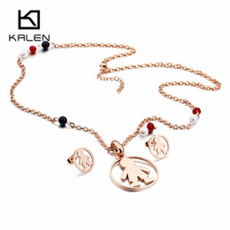 Wholesale Cheap Trendy Jewelry Wholesale - Kalen Trendy Rose Gold Cartoon Boy Pendant Necklace & Earrings Sets For Women Stainless Steel Cute Cheap Jewelry Sets Gifts