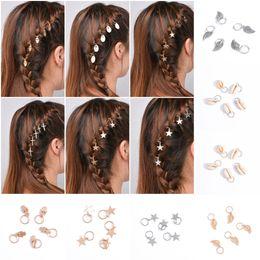 2019 acessórios florais china 5 pçs / set shell folhas cruzes de estrelas charme acessórios para o cabelo grampos de cabelo beauty diy dreadlock jóias cabelo para menina g47l
