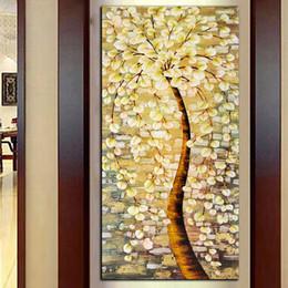 arte de lona de flor amarela Desconto Modern HD Impressão Amarela Árvore Do Dinheiro Grande Flor Pintura A Óleo Sobre Tela Abstrata Casa Decoração Da Parede Imagem de Arte Para Sala de estar Presente