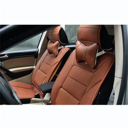 Wholesale Car Seat Cushions Brown - Artificial Leather Car Headrest Soft Pillow for Neck Auto Safety Seat Automobiles Interior Neck Pillow Cushion Accessories