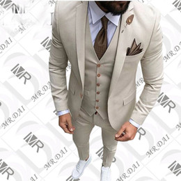 Wholesale two piece men cotton suits - 2018 New Custom Luxury Beige Single-Breasted Notched Lapel Mens Suit For Men Wedding Suit Tuxedos Suits