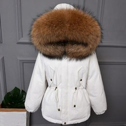 39c7677f9c1 Big Real Natural Raccoon Fur 2018 New Female Coat High Quality Winter  Jacket Women Warm Loose Down Park White Duck Down Jacket
