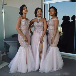 off shoulder dress mermaid style Promo Codes - Mixed Style Mermaid Bridesmaid Dresses 2020 African Pink Off Shoulder Appliques Split Layered Tulle Floor Length Maid of Honor Dress Custom
