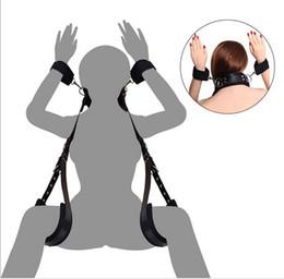Wholesale thigh cuffs bondage restraint - Adjustable Bondage Set to Compel restraints straps Open leg padded Thigh neck kit sex toy for women