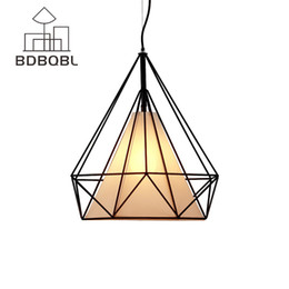 Wholesale cage black metal pendant light - BDBQBL Modern Black Birdcage Pendant Lights Iron Minimalist Retro Light Loft Pyramid Lamp Metal Cage with LED Bulb