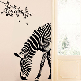Wholesale Tattoos For Wall - Zebra vinyl Wall Stickers Abstract Art Black Decal Animal Stickers DIY Wall tattoo Creative mural for Kids room Home Decor 60*87 cm