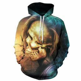 Мужская с капюшоном с капюшоном онлайн-Cloudstyle 3D Hoodie Print Skull Men/Women 3D Sweatshirts Yellow Blue Pullovers Hipster Hip Hop Hooded Unisex Short Streetwear