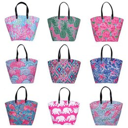 Wholesale tote bags for beach - New Print Shoulder Bag For Women Beach Bag Storage Canvas Travel Handbags Flower Printing Ladies Tote Large Capacity Shopping Bags HH7-1066