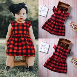 Vestido xadrez bebê vermelho on-line-Puseky recém-nascido da criança meninas dress roupas babados verão manga xadrez vermelho princesa roupas casuais bebê crianças roupas de verão