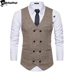 Mens maßgeschneiderte anzüge online-Vintage Brown Tweed Westen Wolle Herringbone britischen Stil maßgeschneiderte Herren Anzug Schneider Slim Fit Blazer Hochzeit Anzüge für Männer