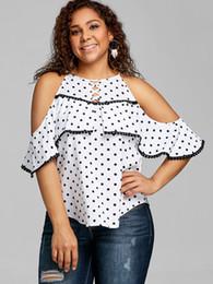 90722cde2a34 Gamiss Women Plus Size Polka Dot Cold Shoulder Flounce Top Womens Ruffle O Neck  Blouse Fashion Summer Women Blouse Shirts Blusas
