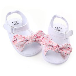 Wholesale Girl Princess Shoes - baby shoes girl princess big bow floral first walkers soft soled anti-slip kids crib bebe footwear 0-12M