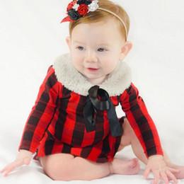 2020 vestidos de bebé rojo recién nacido Ins Niños Ropa Bebé Niñas Red Cuadrícula Imprimir Mamelucos Vestido Niño Infantil Manga Larga Monos Ropa de Bebé Recién Nacido 0-2years YL181 rebajas vestidos de bebé rojo recién nacido