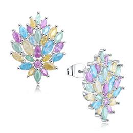 Wholesale Yellow Stone Stud Earrings - Beautiful shine color earrings trendy Water drop stud earing Pink Blue Green Yellow stones Lovely jewelry