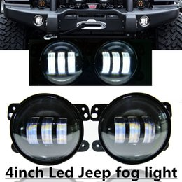 "Wholesale Led Projector Fog - 4"" Led Fog Light Bulb Auto Projector Headlight Front Bumper Lights Driving Offroad for Wrangler JK Dodge Chrysler"