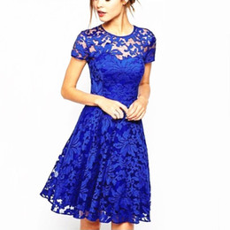 6c1793ff0747 Summer Womens Lace Mini Dress Ladies Prom Party Cocktail Short Sleeve  Bridesmaids Dresses