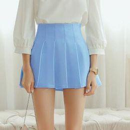 Wholesale Women S School Girl Skirt - Wholesale-summer American School Style Fashion Women elegant half Pleated mini Skirts high waist casual girls skirts women leggings skirt