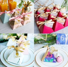 Wholesale Parties Favors - 50 Pcs Creative Triangular Pyramid Wedding Favors Candy Boxes Bomboniera Giveaways Boxes Party Gift Box With Ribbons and Tags