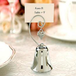 Колокольчик онлайн-Charming Chrome Heart Bell Place Card Photo Holder with Dangling Heart Charm Baby Shower Favors Wedding Gift