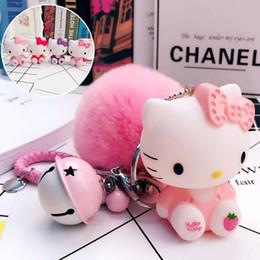 2019 pequenas lanternas de plástico Adorável Olá Kitty Chaveiro Pom Pom Porte Clef Saco Anel Chave Do Carro Dos Desenhos Animados Bola De Pele Chaveiro Chaveiro Presente Para As Mulheres