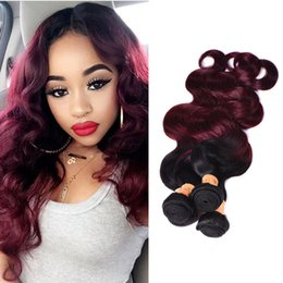 two tone brazilian hair red Promo Codes - Ombre Brazilian Virgin Hair Weaves Bundles Two Tone 1B 99J Wine Red Brazilian Peruvian Malaysian Body Wave Human Hair Extensions
