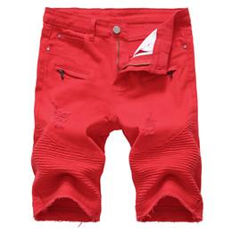 Mens vermelho shorts jeans on-line-Mens Denim Shorts Slim Grande Tamanho Ocasional Na Altura Do Joelho Curto Buraco Jeans Shorts para Homens Verão Branco Preto Vermelho