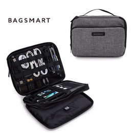 Wholesale electronics organizer bag - Bagsmart Double Layer Phone Charger Case Travel Gear Organizer   Electronics Accessories Bag (Large, Grey)