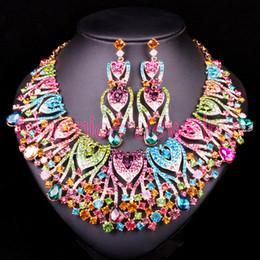 Ожерелье из невесты павлина онлайн- Peacock Bridal Jewelry Sets Wedding Statement Necklace & Earring for Brides Party costume Accessories Decoration Women