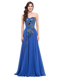 Wholesale peacock pictures - Grace Plus Size Prom Dresses Chiffon Elegant Modest Long Peacock Dress Evening Formal Wear Navy Blue Wedding Party Gowns