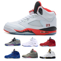Wholesale black lace fans - Basketball fan New 5 5s sport Sneakers Oreo Fire Red white Cement Neymar Black Metallic Mens Basketball shoes Trainer Size 41-47