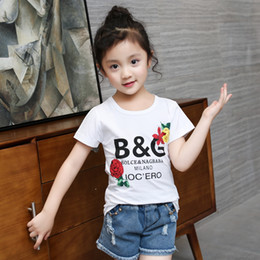 Wholesale sports clothing design - Letter Girls T -Shirts Summer Sports Tops Girl Fashion Tshirts Children &#039 ;S Designs T -Shirt Casual Clothes Teen Girls Rose T Shirt