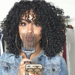 Wholesale transparent shorts women - Kinky Curly with Bangs Full Lace Human Wig For Black Woman Indian Afro Kinky Curly Lace Front Virgin Hair Wig Short Curly Wig