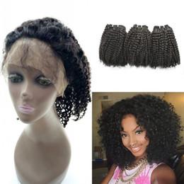 frontal rizado rizado rizado mongol Rebajas Cierre Afro Kinky Curly 360 Full Lace Frontal con 3 Bundles 100 extensiones de cabello humano Mongolian Curly Hair
