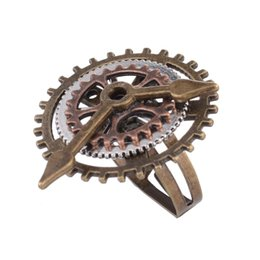 rang clock Coupons - Men's New Retro steam punk 3 ring clock gear ring jewelry