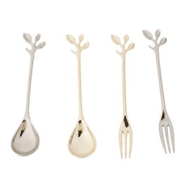 Wholesale Coffee Tea Wholesale - Brief Sliver&Golden Leave Vintage Alloy Carved Coffee Tea Spoons with Crystal Head Fruit Forks Dessert Scoops