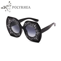 Wholesale Large Sunglasses Case - 2018 Luxury Brand Sunglasses Large Frame Elegant Special Designer With Diamond Frame Built-In Circular Lens Top Quality Come With Case