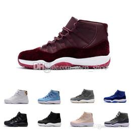 Wholesale Velvet Fur - New 11 Velvet Heiress Night Maroon Men Women Basketball Shoes Wine Red 11s Velvet Heiress Sports Sneakers High Quality With Shoes